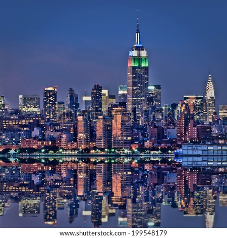 New York skyline with the Empire State building at night - stock photo