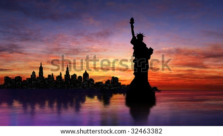 New York skyline wuth Statue of Liberty - stock photo