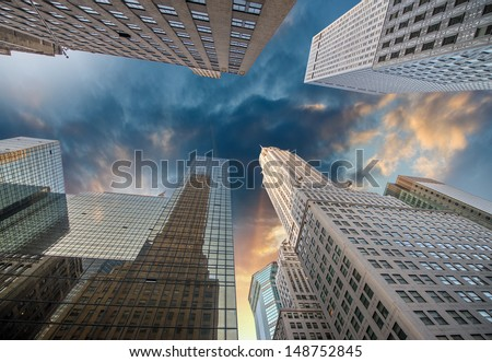 New York. Spectacular view of city skyscrapers at sunset. - stock photo