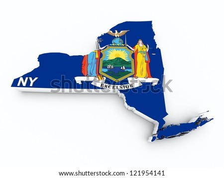 new york state flag on 3d map - stock photo