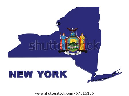 New York State, map with flag, isolated on white, with clipping path, 3d illustration