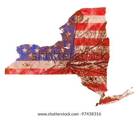 New York state of the United States of America in grunge flag pattern isolated on white background - stock photo