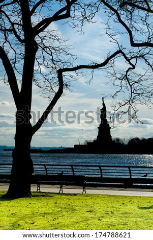 New York statue of liberty black vertical isolated silhouette - stock photo