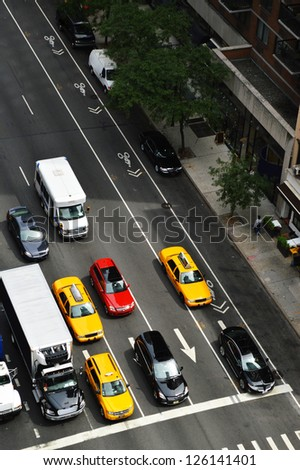 New York street traffic view from the top - stock photo