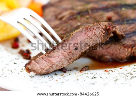 new york strip steak - stock photo