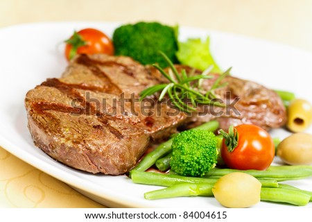 New York Strip Steak with Vegetables - stock photo