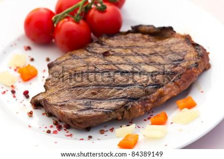 New York Strip Steak with Vegetables - stock photo