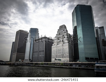 New York. Stunning view of lower Manhattan Skyline on a afternoon. - stock photo