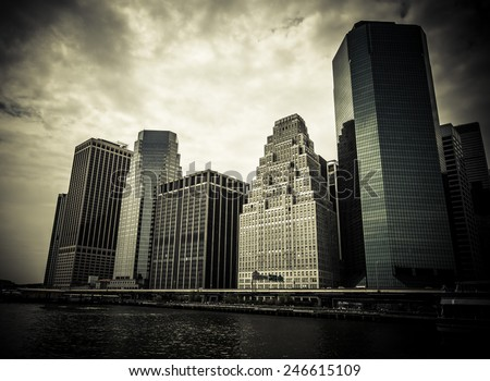 New York. Stunning view of lower Manhattan Skyline on a afternoon. Toned. - stock photo