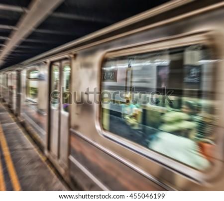 New York subway. Fast moving train. - stock photo