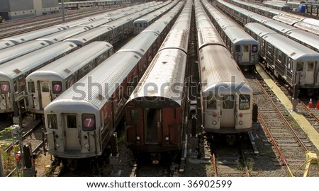 New York Subway trains at the end of the line at the train depot - stock photo