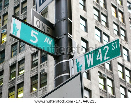 New York: the intersection of 42nd street and 5th Avenue in New York City, USA
