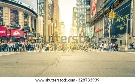 New york, Time square. 27th September, 2015. Times Square is a major commercial intersection and neighborhood in Midtown Manhattan, at the junction of Broadway and Seventh Avenue - stock photo