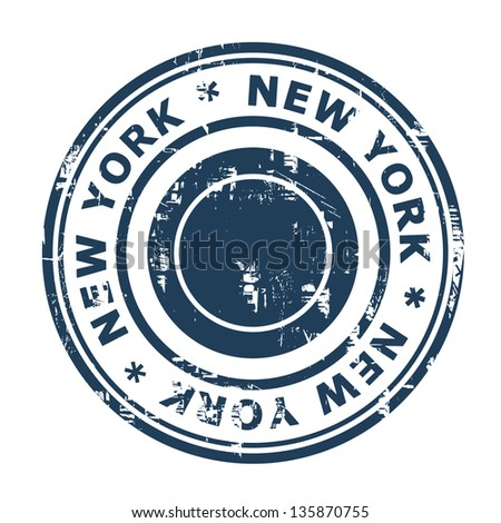 New York travel stamp isolated on a white background.