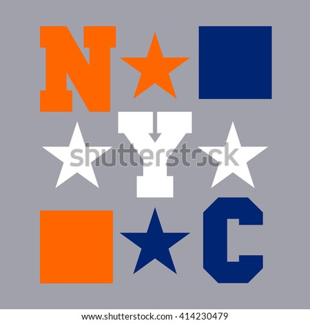 New York typography, design graphic, t-shirt printing man NYC, original design clothing, sport, emblem