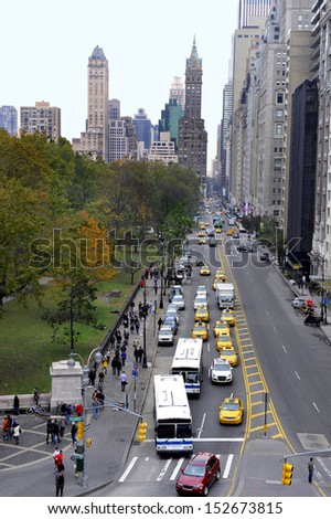 NEW YORK,U.S.A.-NOVEMBER 10,2012: West 59 th street seen from Columbus Statue at Columbus Circle in Manhattan, New York