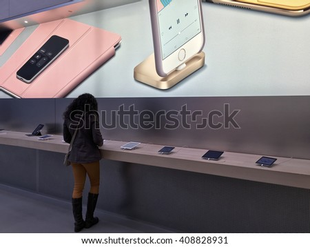 NEW YORK,  UNITED STATES AMERICA - FEB 23 2016: New Apple products , iPad Pro displayed for use in New York, USA