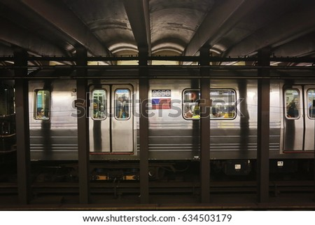 New York, US - August 24,2016: Underground subway station at 167 street, New York, USA.