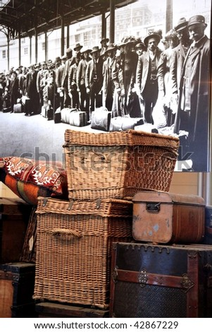 NEW YORK, US - DEC. 07: Old immigrants baggage at the entrance of Ellis Island Museum December 07, 2009 in New York, US. - stock photo