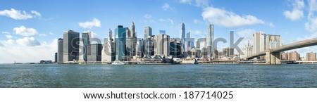NEW YORK, US - NOVEMBER 24: Composite shot of lower Manhattan skyline seeing from Brooklyn. November 24, 2013 in New York. - stock photo