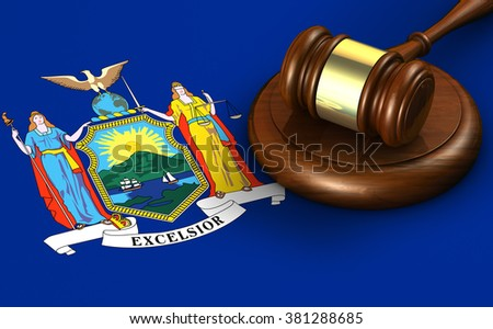 New York US state law, code, legal system and justice concept with a 3d render of a gavel on the New Yorker flag on background. - stock photo