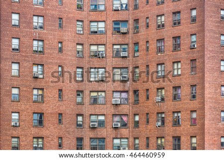 NEW YORK, USA - Apr 29, 2016: Brick facades of the buildings in Manhattan, New York City. Manhattan is the most densely populated of the five boroughs of New York City