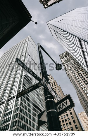 NEW YORK, USA - Apr 28, 2016: Manhattan modern architecture. Manhattan is the most densely populated of the five boroughs of New York City - stock photo