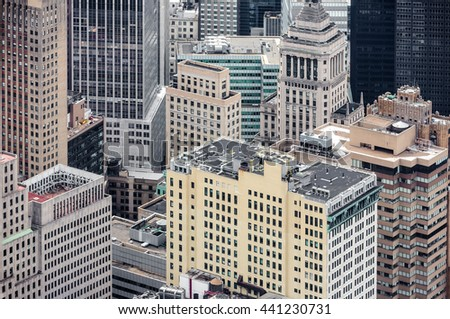 NEW YORK, USA - Apr 28, 2016: Streets and roofs of Manhattan. New York City Manhattan midtown view