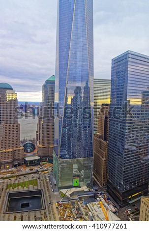 NEW YORK, USA - APRIL 24, 2015: Aerial view on National September 11 Memorial - 9/11 - in Financial District in Lower Manhattan. It is a commemoration of the terrorist attacks on September 11, 2001 - stock photo