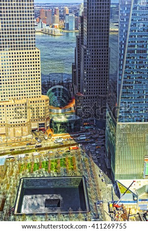 New York, USA - April 24, 2015: Aerial view on National September 11 Memorial - 9/11 - of Financial District in Lower Manhattan. It is a commemoration of the terrorist attacks on September 11, 2001 - stock photo