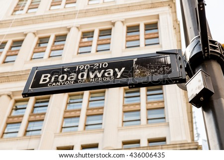 NEW YORK, USA - APRIL 21, 2016: Broadway street sign in NYC. With over 40 prominent theater houses, Broadway theater is considered one of the world's highest levels of commercial theatre.