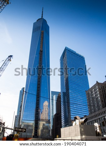 NEW YORK, USA - 2014 APRIL 21: Freedom tower under construction in Manhattan - stock photo