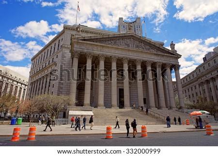 NEW YORK, USA - APRIL 25, 2015: New York State Supreme Court building in Lower Manhattan, New York, USA           - stock photo