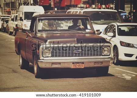 NEW YORK, USA - APRIL 21, 2016: Old vintage classic retro Chevrolet car is on the street of New York