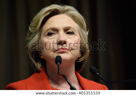 NEW YORK, USA - APRIL 13, 2016: Presidential candidate Hillary Clinton speaks at the National Action Network convention on their 25th year anniversary.  - stock photo