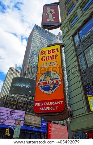 NEW YORK, USA - APRIL 24, 2015: Restaurants at Intersection of 7th Avenue and West 44th Street in Midtown Manhattan, New York, USA. It is Times Square, an intersection between Broadway and 7th Avenue - stock photo