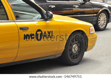 NEW YORK, USA - APRIL 11: Taxis in the traffic, Manhattan, April 11, 2012 in New York City. The city is planning to replace its fleet of various kinds of taxis with one model.
