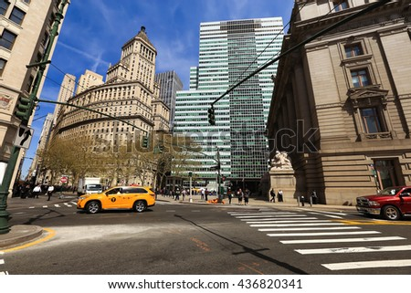 NEW YORK, USA - APRIL 15, 2016 : Typical street scene of 5th Avenue is a central road of Manhattan, the most expensive shops and apartmens situated here - stock photo