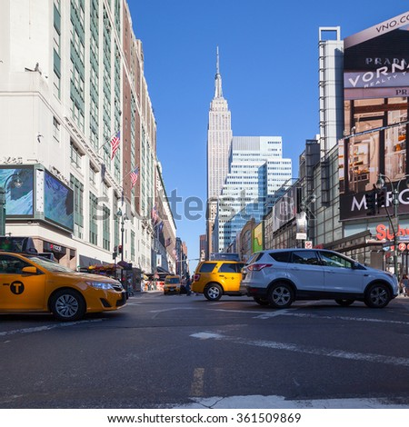 NEW YORK, USA - AUG 25, 2014: Empire state building, Manhattan, New York City, USA. New York is the most populous city in the United States