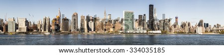 NEW YORK, USA - AUG 23, 2015: skyline of New York seen from east river. The East River is a salt water tidal strait in New York City. The waterway connects Upper New York Bay to Long Island Sound. - stock photo