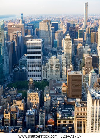 NEW YORK,USA - AUGUST 15,2015 : Aerial view of midtown New York City including the Rockefeller Center - stock photo