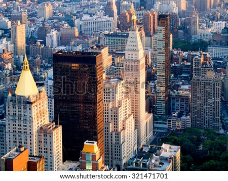 NEW YORK,USA - AUGUST 15,2015 : Aerial view of midtown New York including the Metlife Tower and the New York Life Building - stock photo