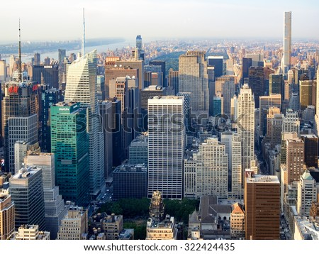 NEW YORK,USA - AUGUST 15,2015 : Aerial view of midtown New York with the Rockefeller Center, the Bank of America tower, the Metlife and other landmarks - stock photo