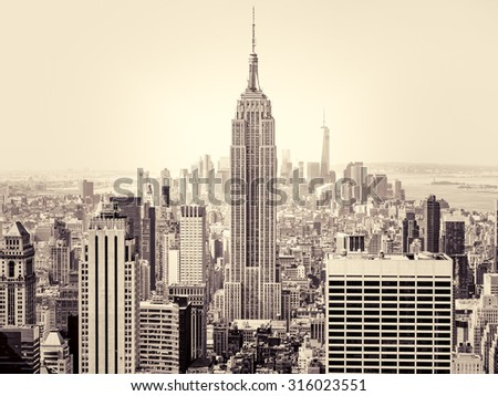 NEW YORK,USA - AUGUST 15,2015 : Aerial view of New York City with the Empire State Building on the foreground - stock photo
