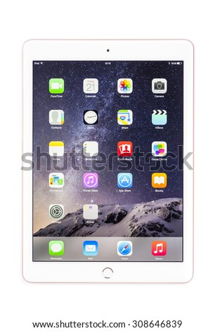 New York, USA - August 21, 2015:Brand new white Apple iPad Air 2, 6th generation of the iPad, developed by Apple inc. and was released on October 16, 2014