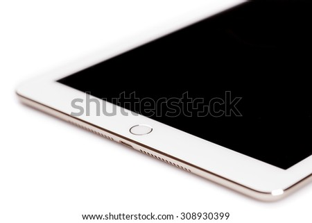 New York, USA - August 21, 2015:Brand new white Apple iPad Air 2, 6th generation of the iPad, developed by Apple inc. and was released on October 16, 2014 - stock photo