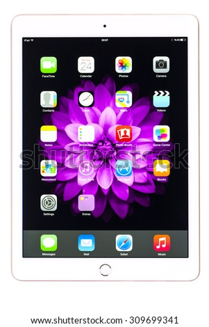 New York, USA - August 25, 2015:Brand new white Apple iPad Air 2, 6th generation of the iPad, developed by Apple inc. and was released on October 16, 2014 - stock photo