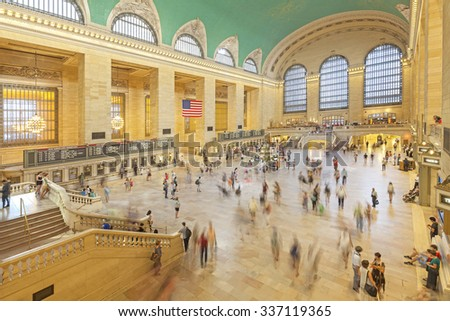 NEW YORK, USA - AUGUST 15, 2015: Commuters in the Grand Central Terminal main hall during busy day. - stock photo