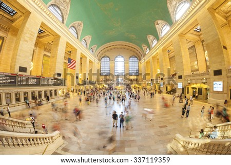 NEW YORK, USA - AUGUST 15, 2015: Fisheye lens picture of commuters in the Grand Central Terminal main hall during busy day. - stock photo