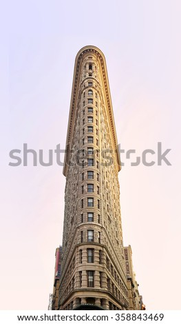 NEW YORK, USA - August 17 : Flat Iron building facade on August 17, 2015. Completed in 1902, it is considered to be one of the first skyscrapers ever built - stock photo